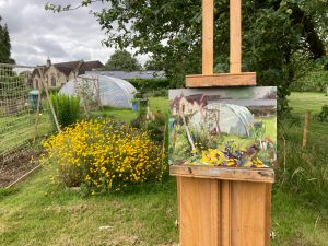 A painting of a polytunnel
